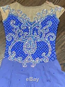 Beautiful Tania Bass Ladies XS Periwinkle Blue Custom Ice Figure Skating Dress