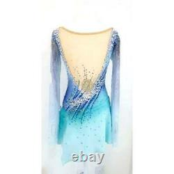 Blue Ombre Competition Figure Skating Dress Mesh Sleeves