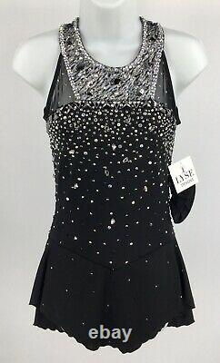 Brad Griffies Ladies Sz6 Black & Silver Figure Ice Skating Competition Dress