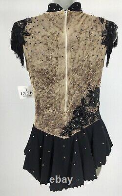 Classic Del Arbour Gold Velvet Ladies 8-10 Figure Ice Skating Competition Dress