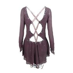 Competition Figure Skating Dress Brown Tango Back Adult Large