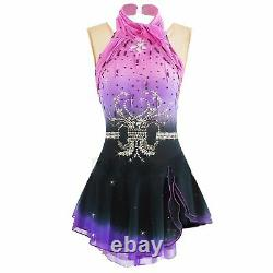 Competition Figure Skating Dress Fuchsia Ombre Purple to Navy BSU2682.2