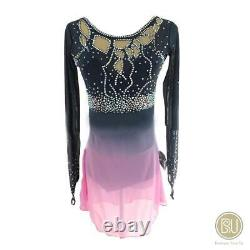 Competition Figure Skating Dress Grey Ombre to Pink Long Sleeves