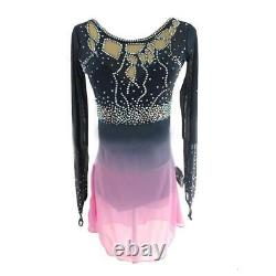 Competition Figure Skating Dress Grey Ombre to Pink Long Sleeves Size Adult Smal