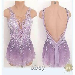 Competition Figure Skating Dress Lilac Ombre Sleeveless