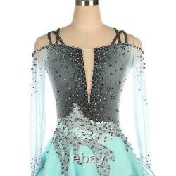 Competition Figure Skating Dress Turquoise & Grey