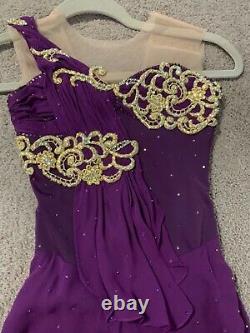 Custom Figure skating dress child Girls 4-6 Gorgeous purple Ice Skating Dress