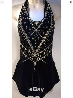Custom Lyse LS Black Velvet wGold Figure Ice Skating Dress +2200 Swarovski