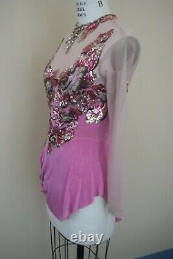 Custom Made Figure Skating Competition Ice Skating Drape Dress Adult Light Pink