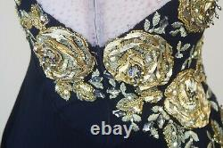 Custom Made Figure Skating Competition Ice Skating Gold Roses Adult Dress
