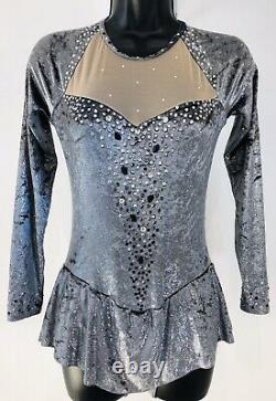Custom Silver Velvet Figure Ice Skating Dress Ladies S +7grSwarovski