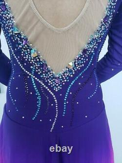 Custom made figure skating dress, Purple/Pink competition ice skating dress