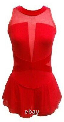 DEL ARBOUR Red Mesh Figure Skating Competition Dress Adult 8-10