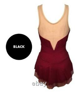 DEL ARBOUR Sleeveless Black Mesh Figure Skating Competition Dress Adult 12-14