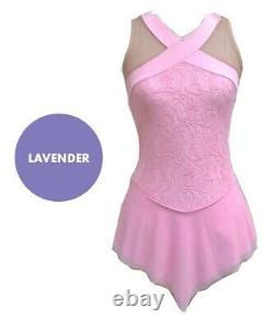 DEL ARBOUR Sleeveless Lavender Lace Figure Skating Competition Dress Adult 8-10