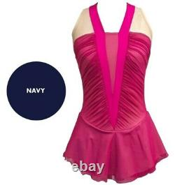 DEL ARBOUR Sleeveless Navy Figure Skating Competition Dress Adult 4-6