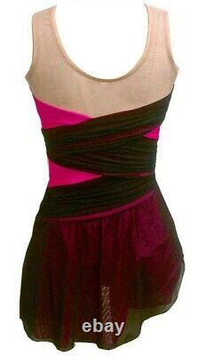 DEL ARBOUR Sleeveless Pink Black Mesh Figure Skating Competition Dress Adult 0-2