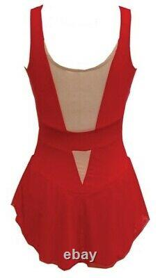 DEL ARBOUR Sleeveless Red Figure Skating Competition Dress Adult 0-2