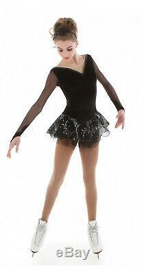 Elite Xpression XP 1505 Figure Skating Competition Black Dress Girls Size 12-14