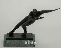 Figure Ice Skater Skating Bronze Metal Statue Sculpture Trophy Collectible 8 x