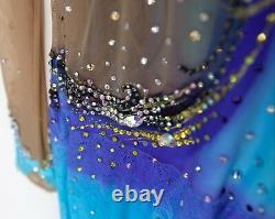 Figure Skating Competition Dress Child Small Ice Skate Bright Blue/Yellow 130cm