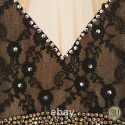 Figure Skating Dress Rhinestones Black Empire Waist Look Adult X-Large