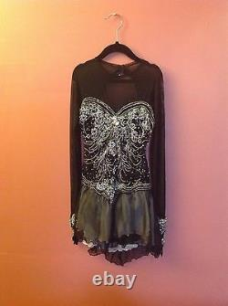 Georgics FIGURE SKATE handmade DRESS BLACK with many stones sz. SMALL NEW