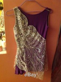 Georgics FIGURE SKATE handmade DRESS lilac with many stones sz. SMALL NEW