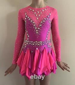 Girls Figure Skating Competition Dress Bright Pink Rhinestones Size 7-9 Years