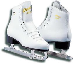 Graf AROSA White Gold figure Skates with Steel Alloy Sabina Blades Ice Leather