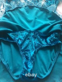 Ice Figure Skating Dress Turquoise Girls Size 12 Real Swarovski Crystals Stones