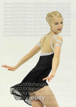 Ice skating dress. Black Competition Figure Skating dress. Baton Twirling custom