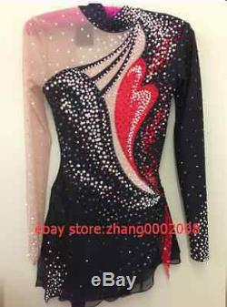 Ice skating dress. Black/Red Competition Figure Skating /Baton Twirling custome