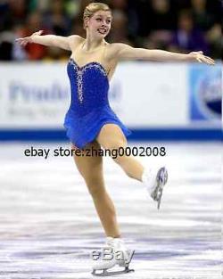 Ice skating dress. Blue Competition Figure Skating dress. Baton Twirling Costume