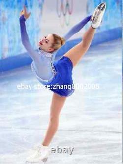 Ice skating dress. Blue Competition Figure Skating dress. Baton Twirling custom