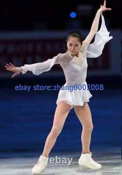 Ice skating dress. White Flowing Sleeves Figure Skating Baton Twirling custom