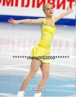 Ice skating dress. Yellow Competition Figure Skating dress. Baton Twirling custom