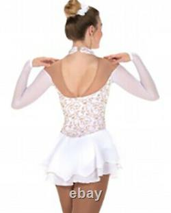 Jerrys 220 Ice Figure Skating Competition Dress Soft White Gilded Dress CS 12-14