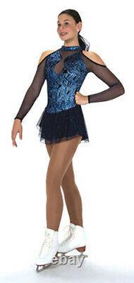 Jerrys 230 Ice Figure Skating Dress Indigo Ink Blue Baton Twirl Dance Adult L