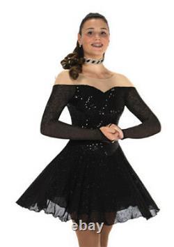 Jerrys 268 Ice Figure Skating Dress Decadent Dance Black Baton Twirl Adult Med