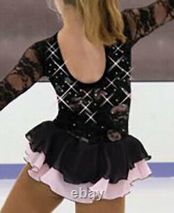 Jerrys 52 Ice Figure Skating Dress Veil of Roses Baton Twirl Black Pink CS 10-12