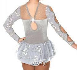 Jerrys 62 Wings of a Dove Ice Skating Figure Dress Silver Grey Twirl Baton 12-14