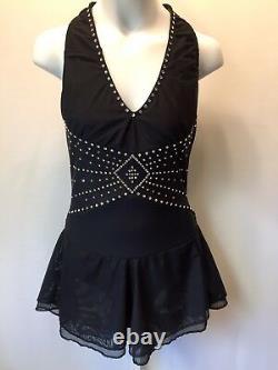 NEW Designer Crystalled Black Gathered Mesh Figure Skating Dress Ladies Small