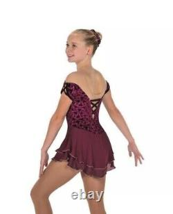 NEW Jerry's Gemology Garnet Wine Figure Skating Dress #213 Adult Large