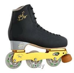 New G H Glide LT Black Inline Figure Skates US Size 3