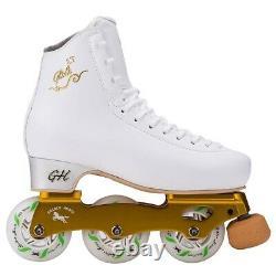 New G H Loop LT White Inline Figure Skates US Size 4