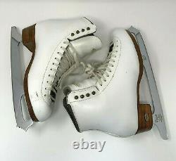 RIEDELL Figure Ice Skates Boots White Size 8 1/2 & John Wilson Coronation Blades