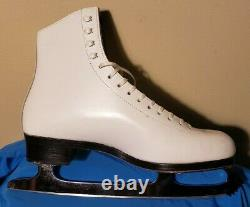 Riedell 355 B Silver Star White Leather Ice Figure Skates Lady Wmn 8 1/2 B