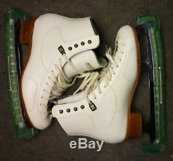 Riedell Ice figure skates Model 300 White Size 7 with Sheffield Club 2000 Blades