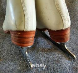 Riedell White Leather Ice Figure Skates sz 4.5 Coronation Ace 9 3/4 blades